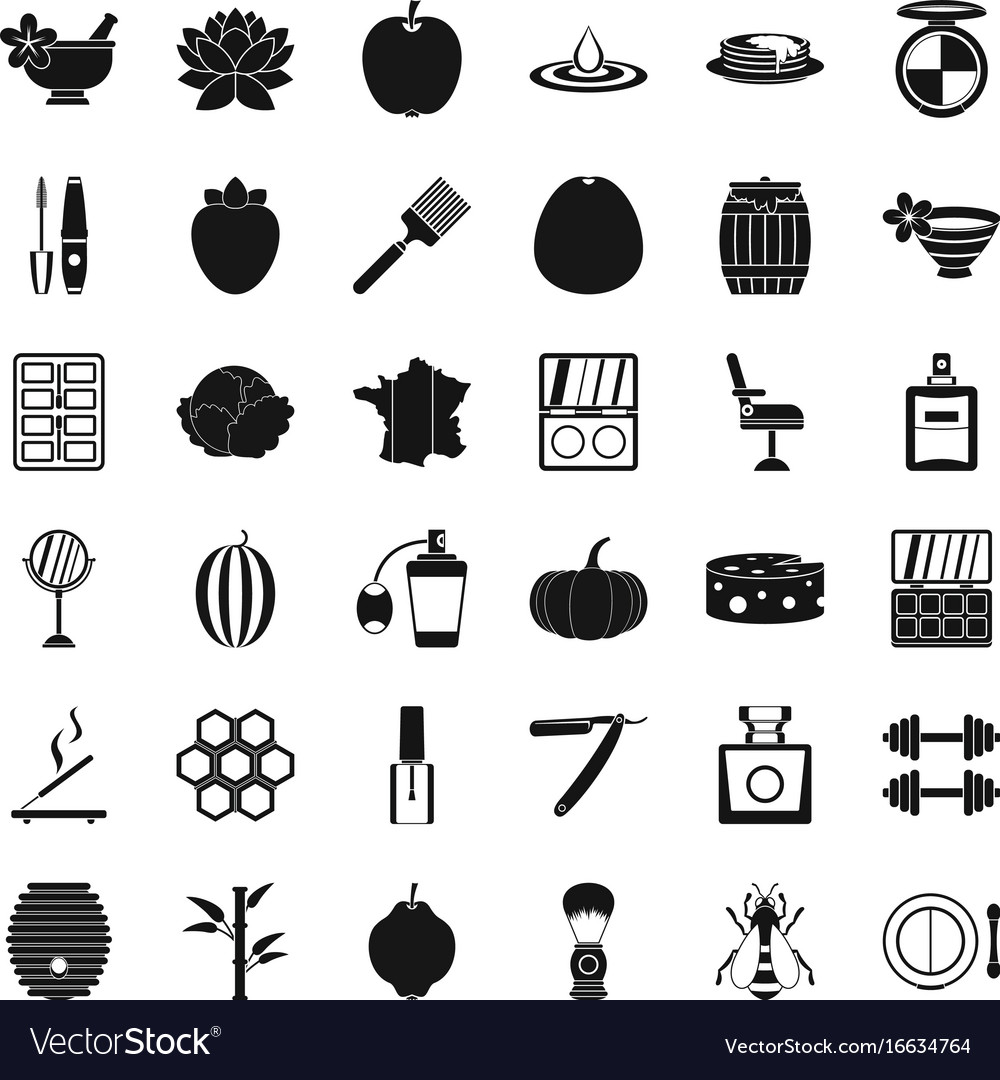 Make up product icons set simple style vector image
