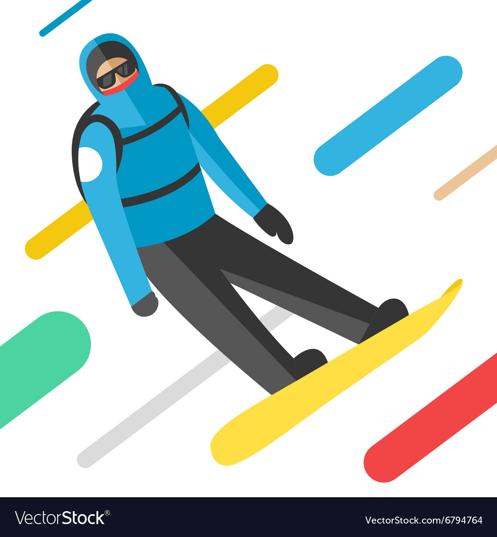 Snowboarder jumping pose on winter outdoor