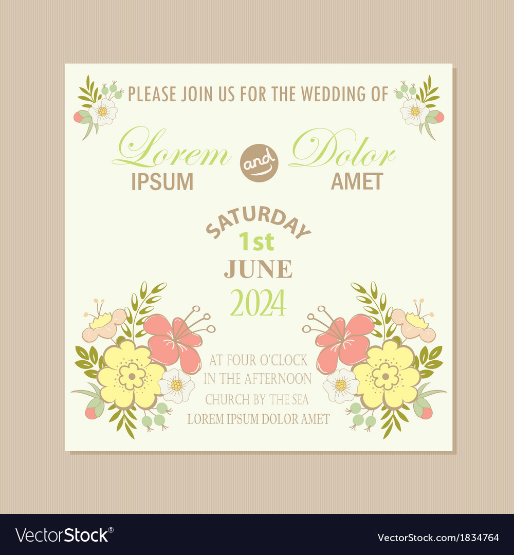 Spring floral wedding invitation card royalty free vector spring floral wedding invitation card vector image stopboris Images