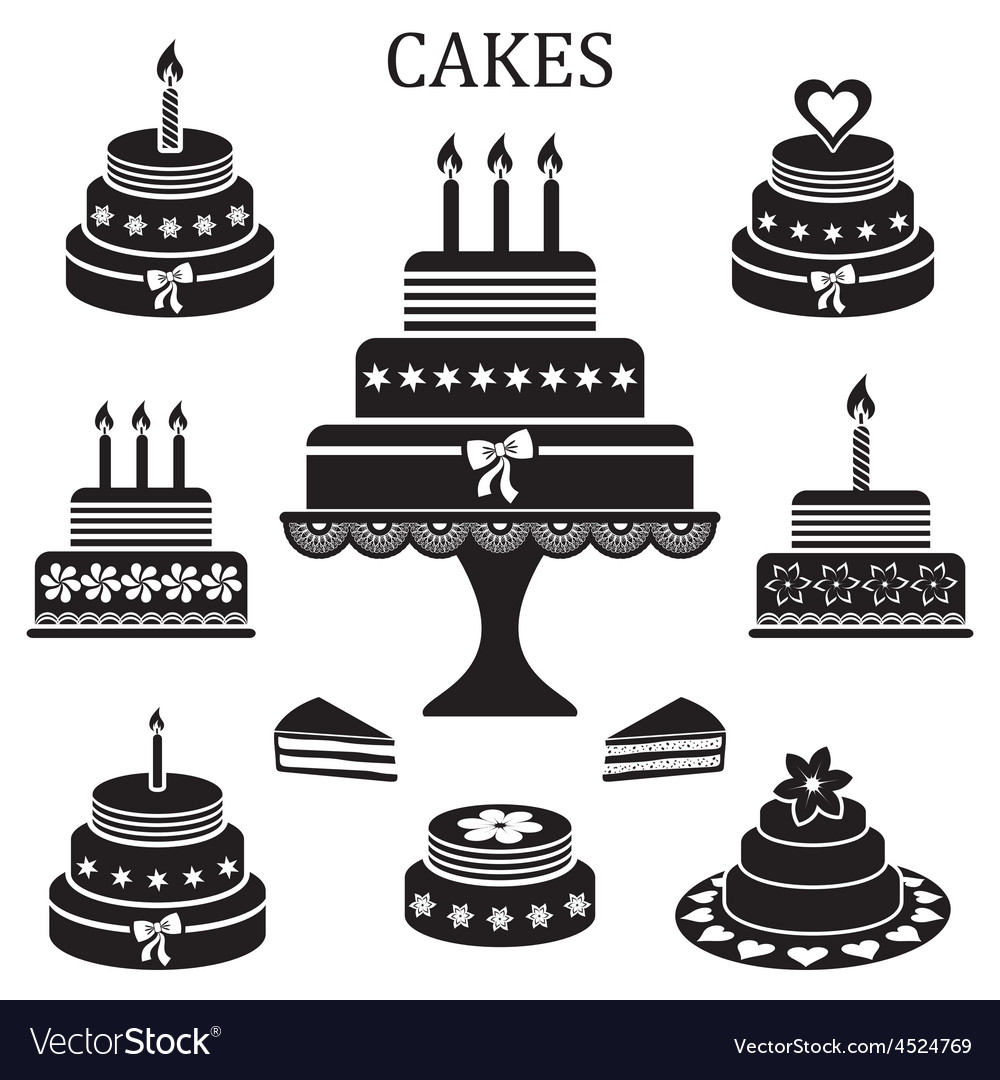Birthday And Wedding Cakes Royalty Free Vector Image