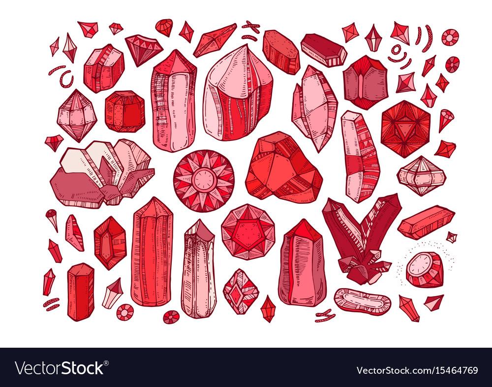 Crystal gems set isolated on white background