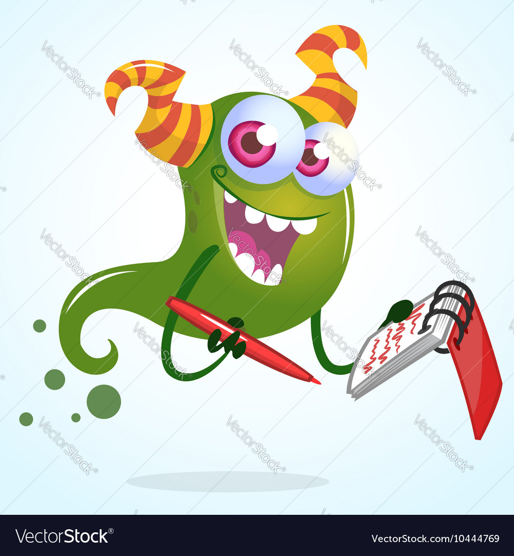 Cute cartoon green horned ghost with pen an vector image
