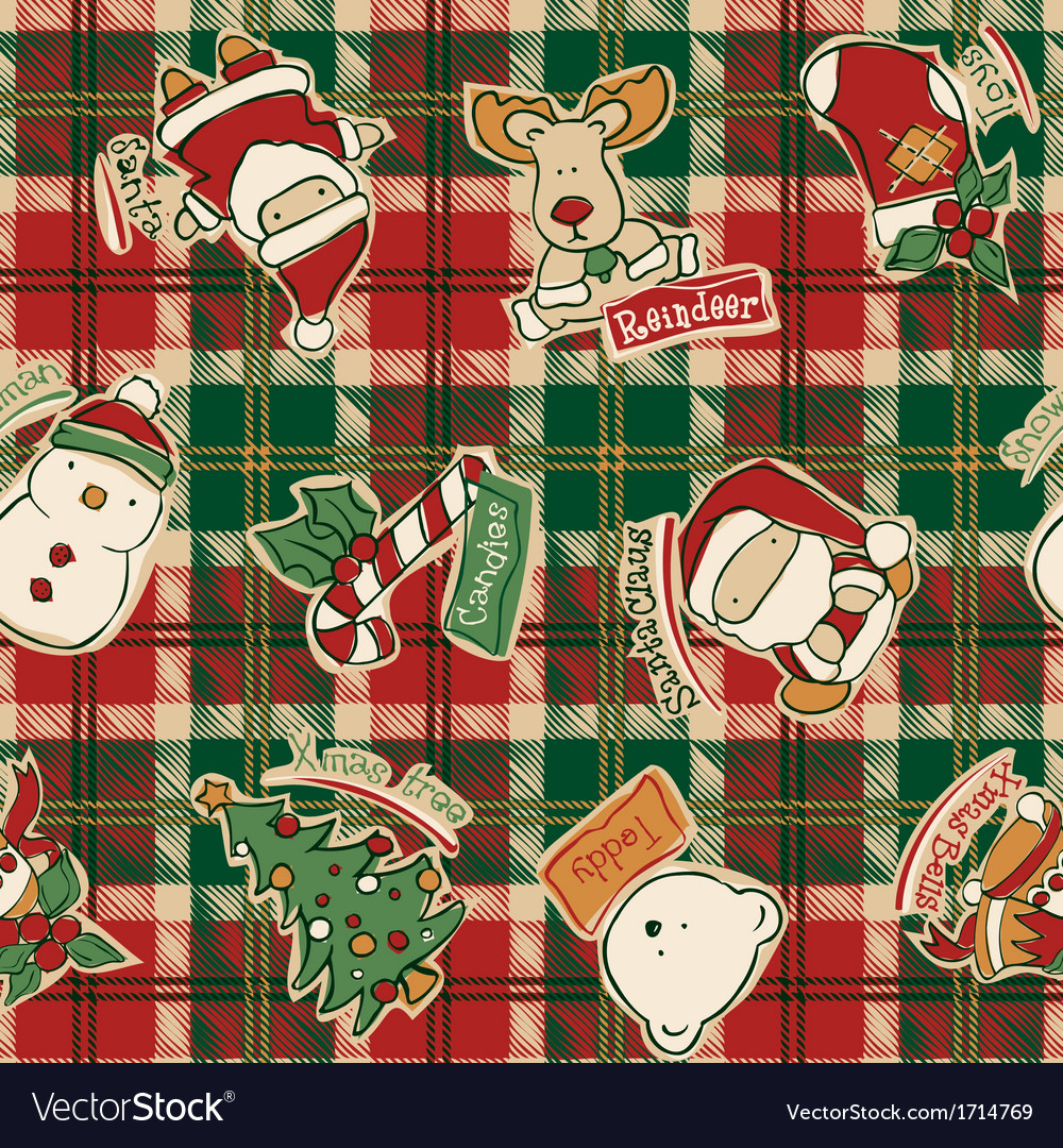 Funny Christmas elements with tartan background
