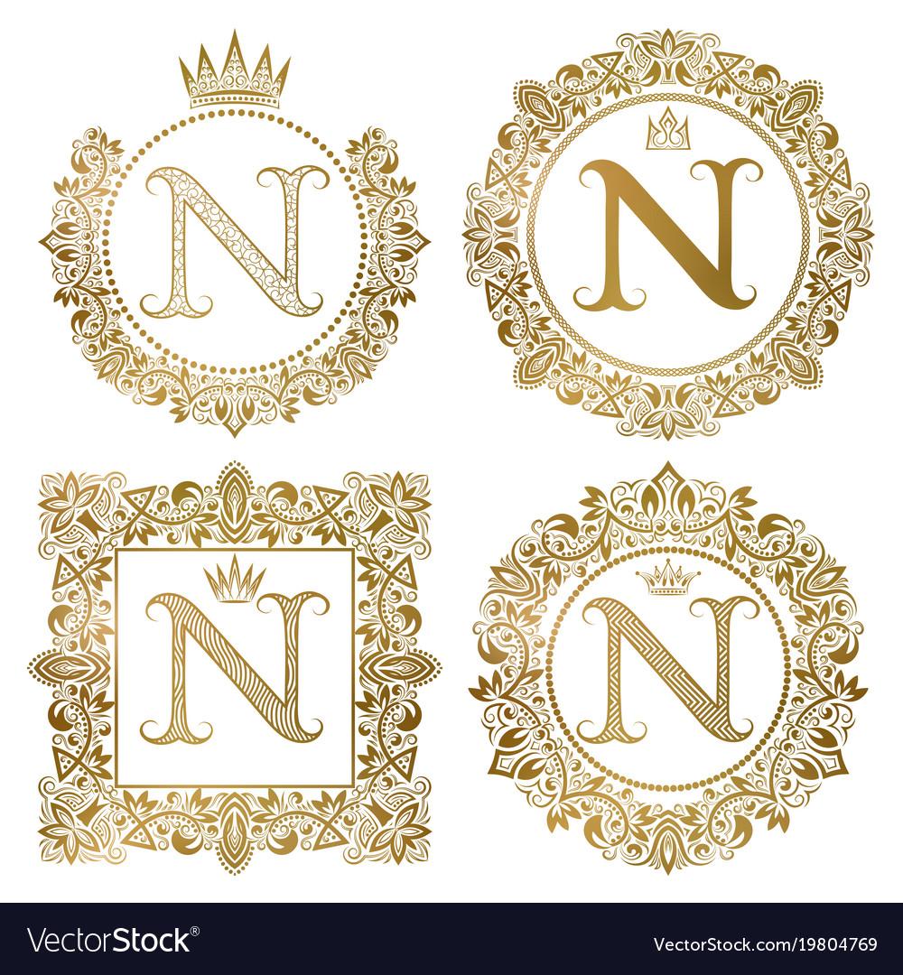 Golden letter n vintage monograms set heraldic