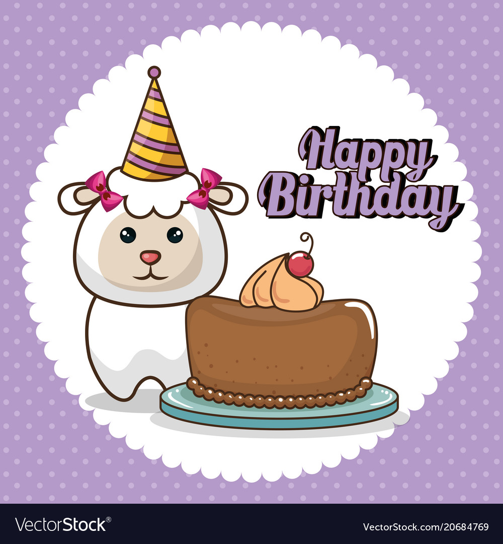 Happy Birthday Card With Cute Sheep Royalty Free Vector