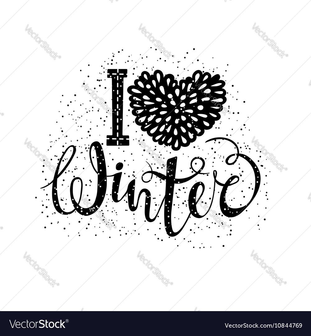 I love winter text element lettering Seasonal vector image