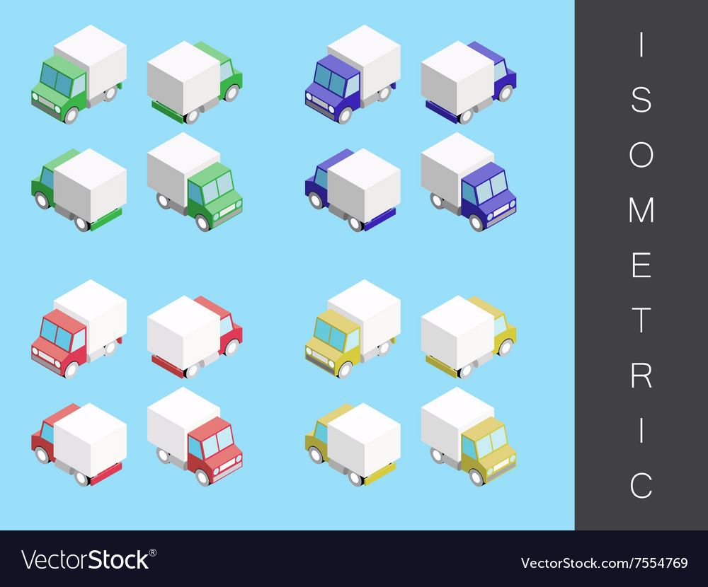 Isometric transport icon set