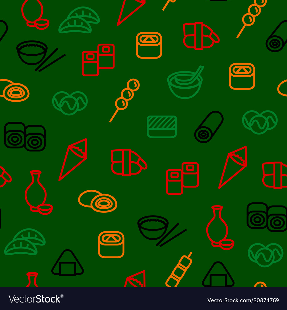 Japanese foods seamless pattern background