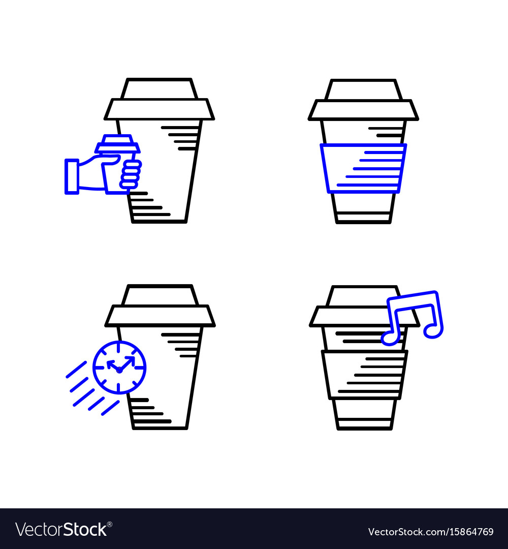 Line art icon coffee cup icon food outlin drink