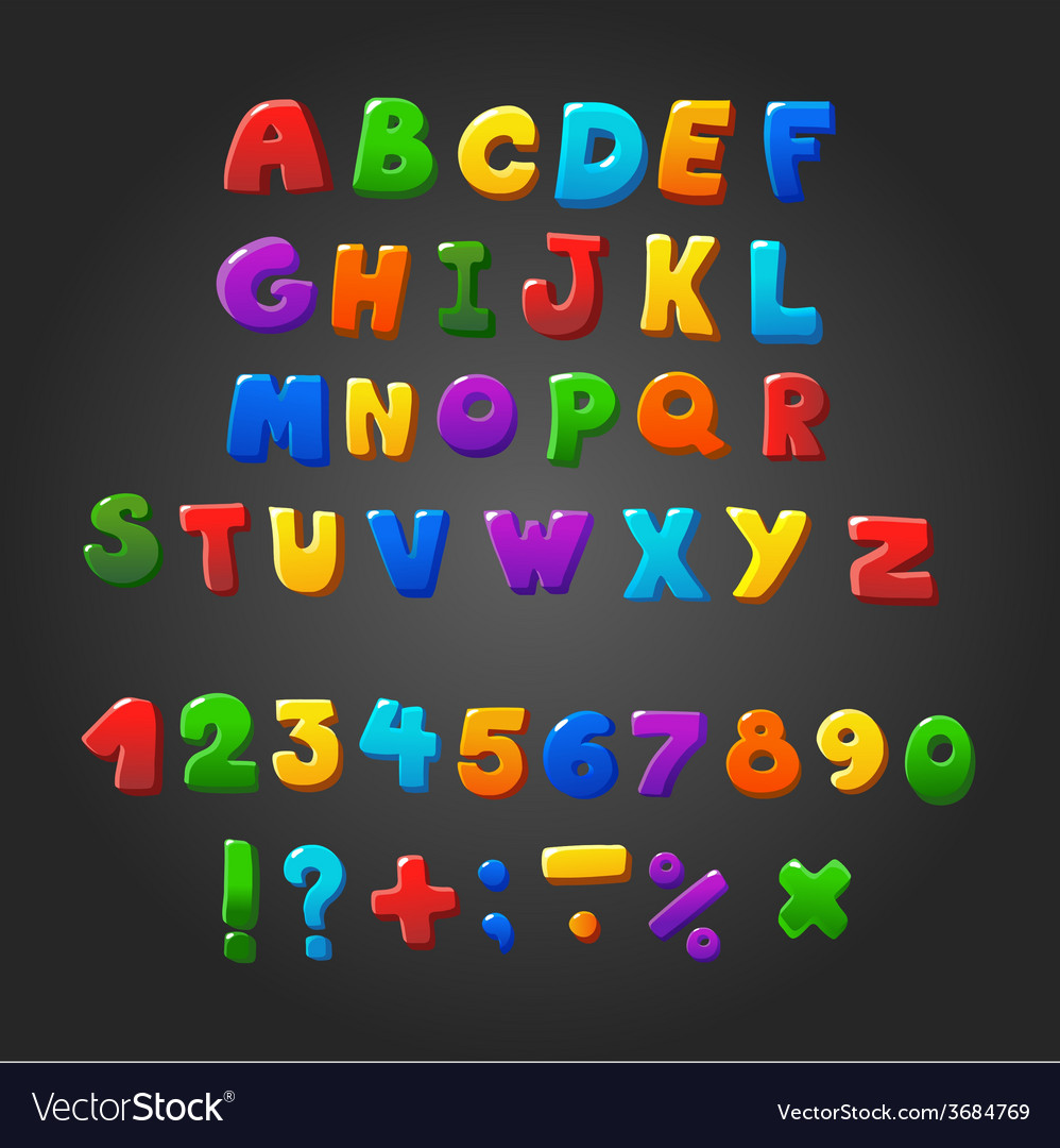 Multicolored kids Font letters numbers and
