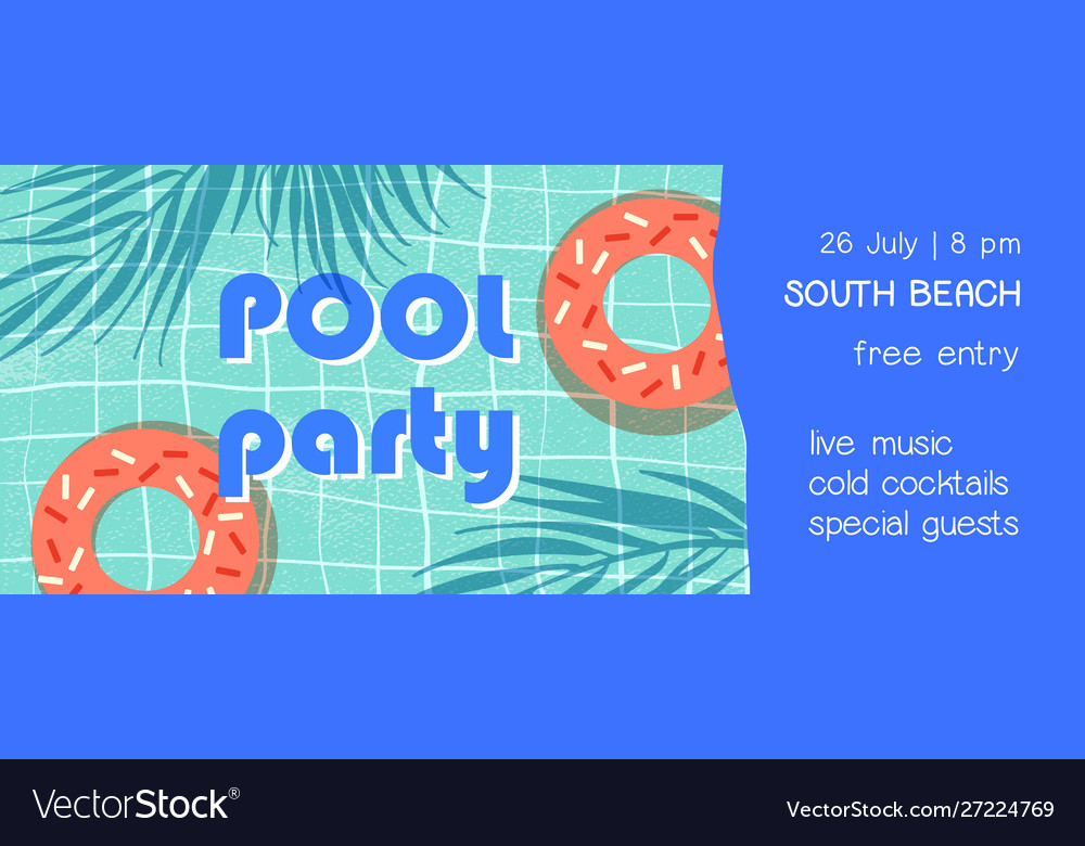 Pool party flat banner template summer