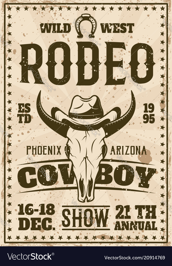 Rodeo show advertisement poster in retro style