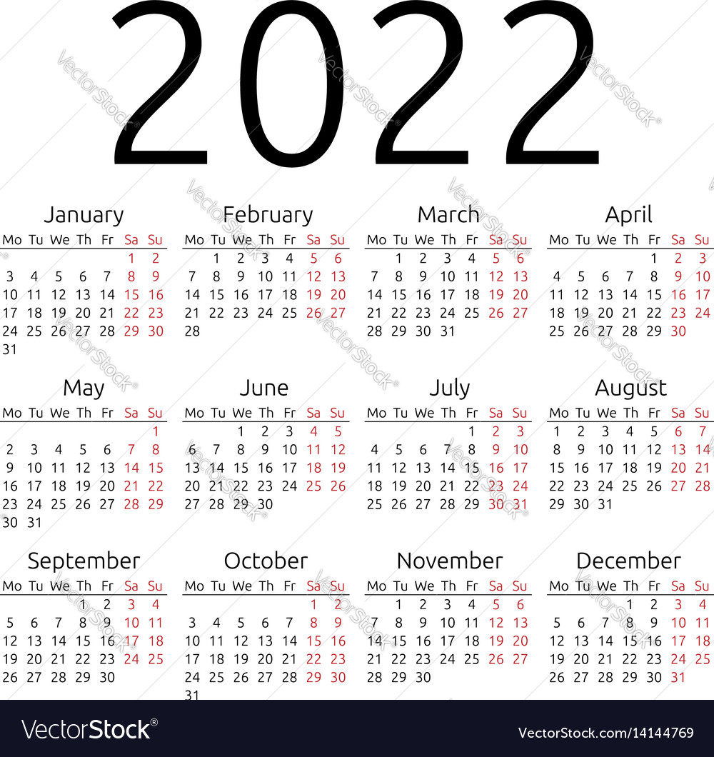 Simple calendar 2022 monday Royalty Free Vector Image