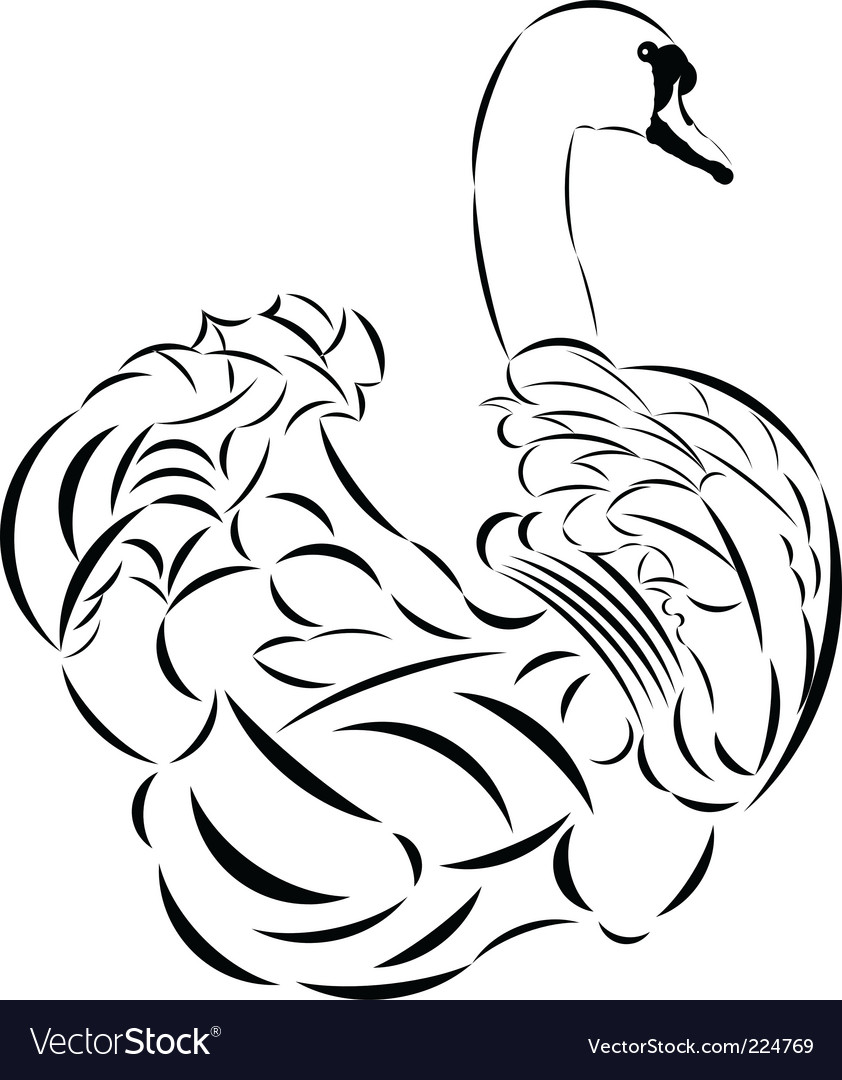 Tattoo Style Swan Vector. Artist: volmiller; File type: Vector EPS