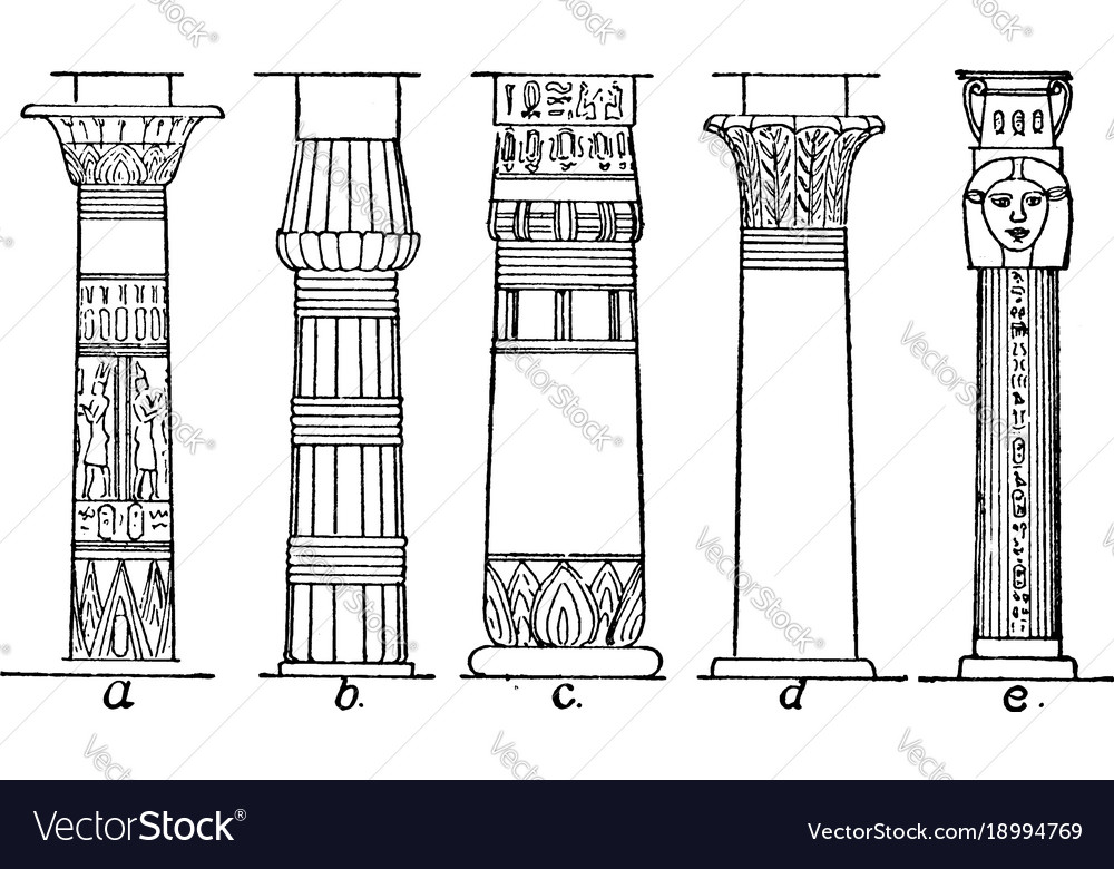 types of column egyptian vintage engraving vector image