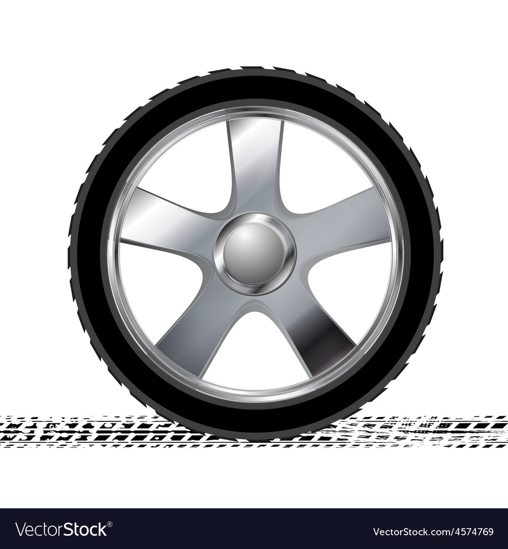 Wheel and grunge tire track abstract background vector image