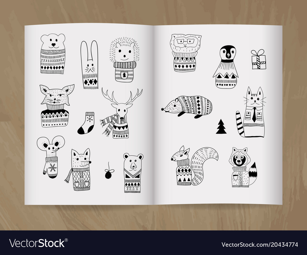 Christmas doodle animals in the notice-book vector image