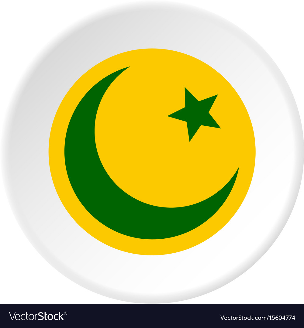 Crescent Moon And Star Icon Circle Royalty Free Vector Image