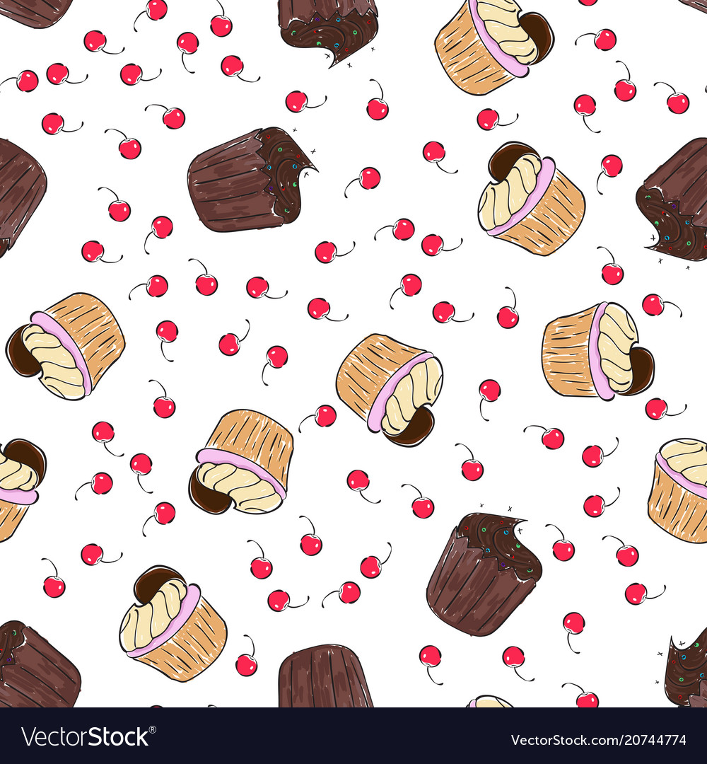 Cupcakes pattern seamless print with vector image