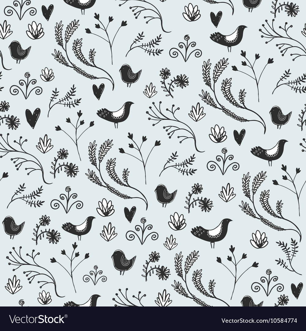 Floral seamless pattern with leaves birds