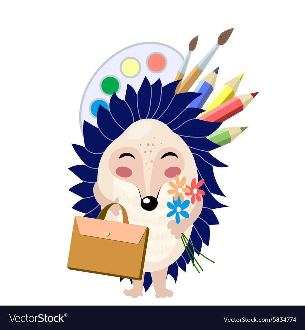 Funny cartoon blue hedgehog going to school vector image