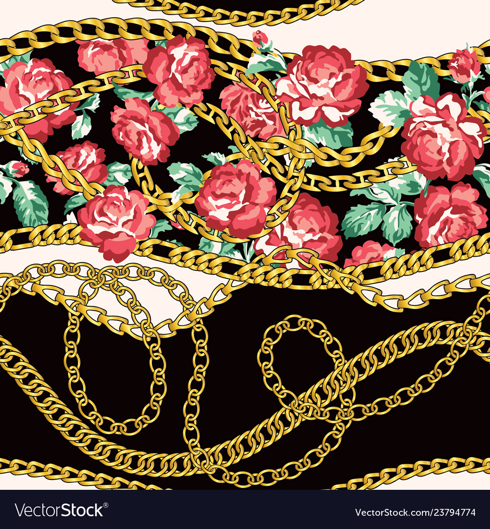 Golden chains and rose flowers wallpaper