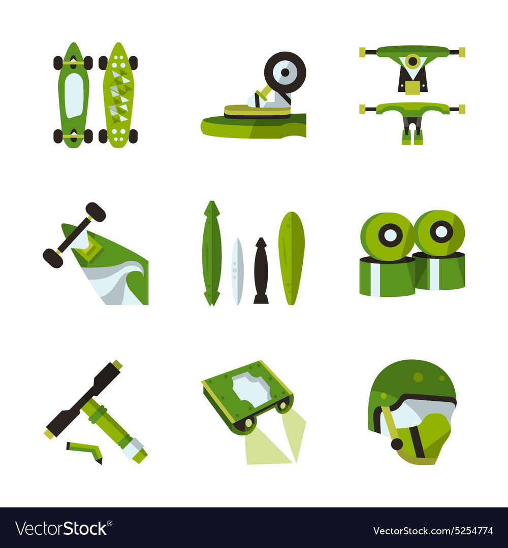 Green flat icons for longboard accessories vector image