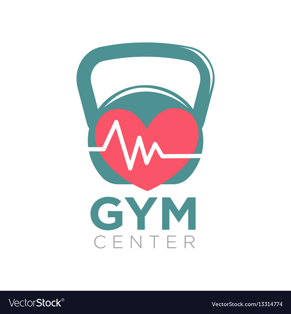 Gym center logotype design with kettlebell and