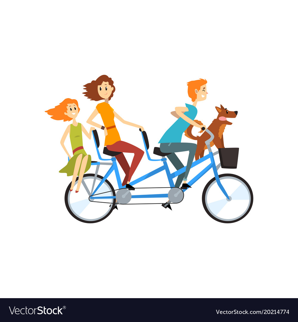 Happy family riding on long tandem bicycle
