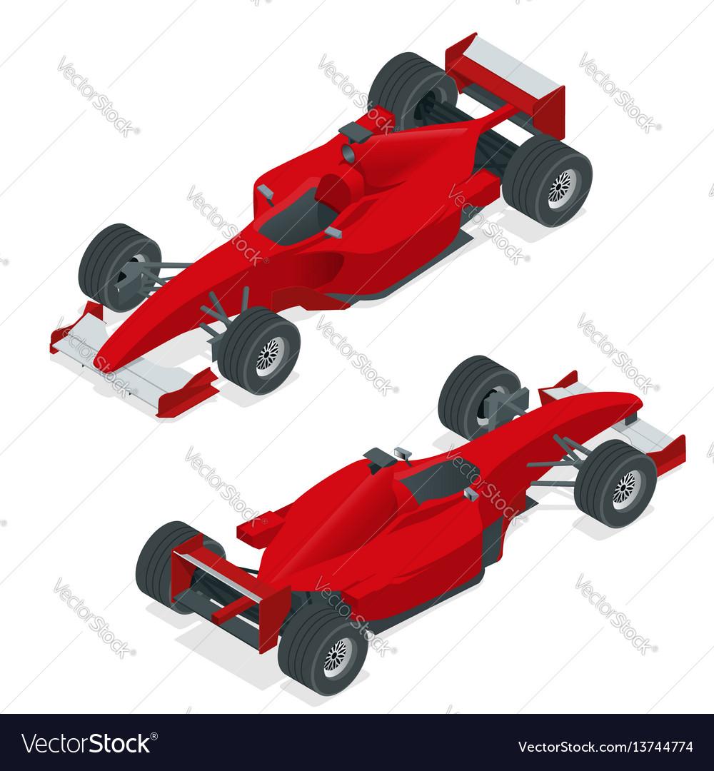 Isometric red sport car or formula 1 car flat 3d vector image