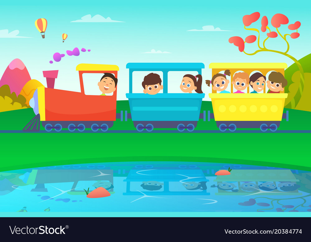 Kids driving a train in fairytale world vector image