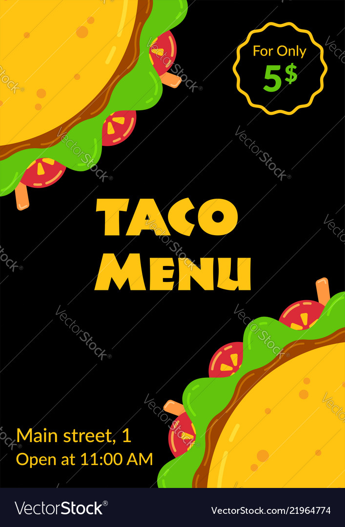 Mexican cuisine tasty taco fastfood menu template