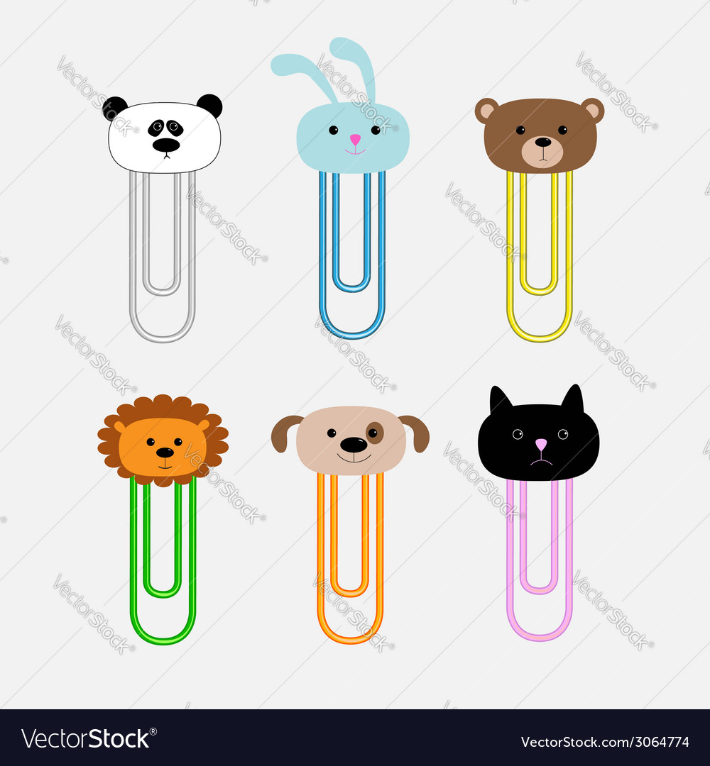 Paperclips with animal head set Panda rabit dog