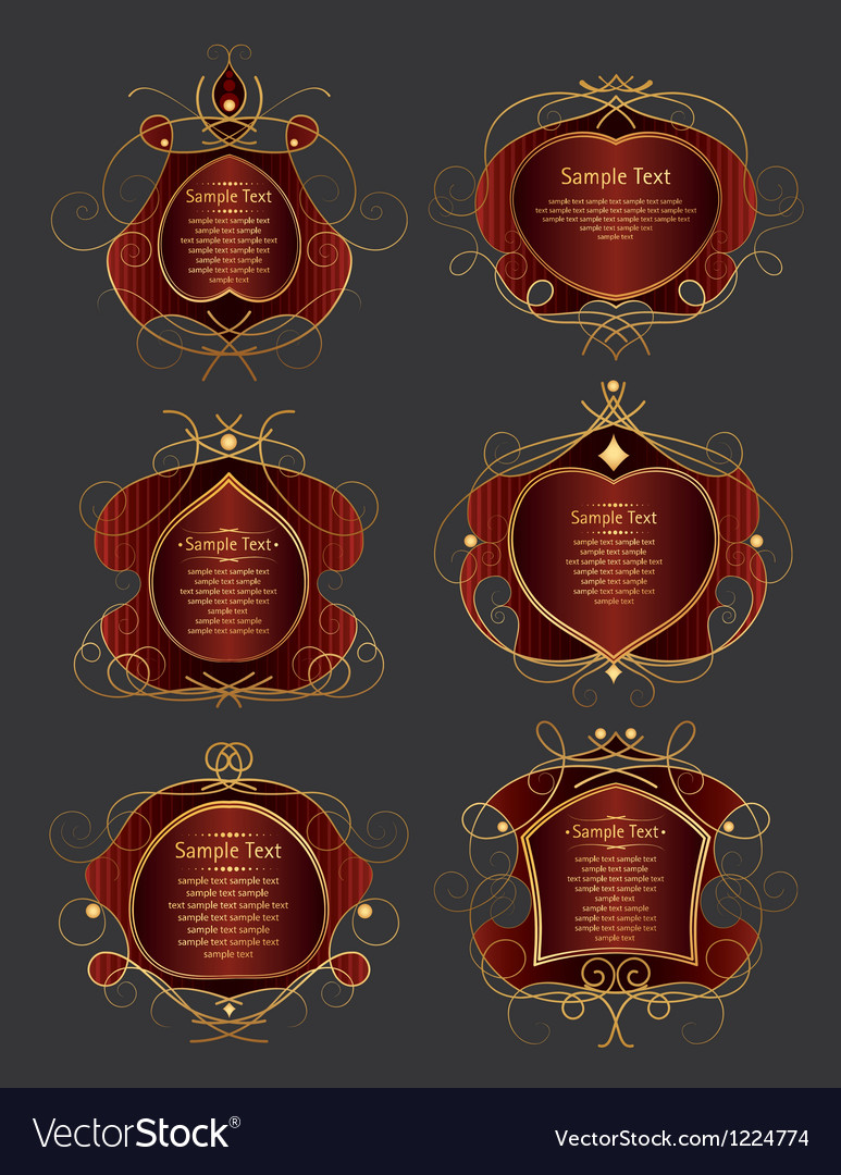 Set Of Red And Gold Frames Royalty Free Vector Image
