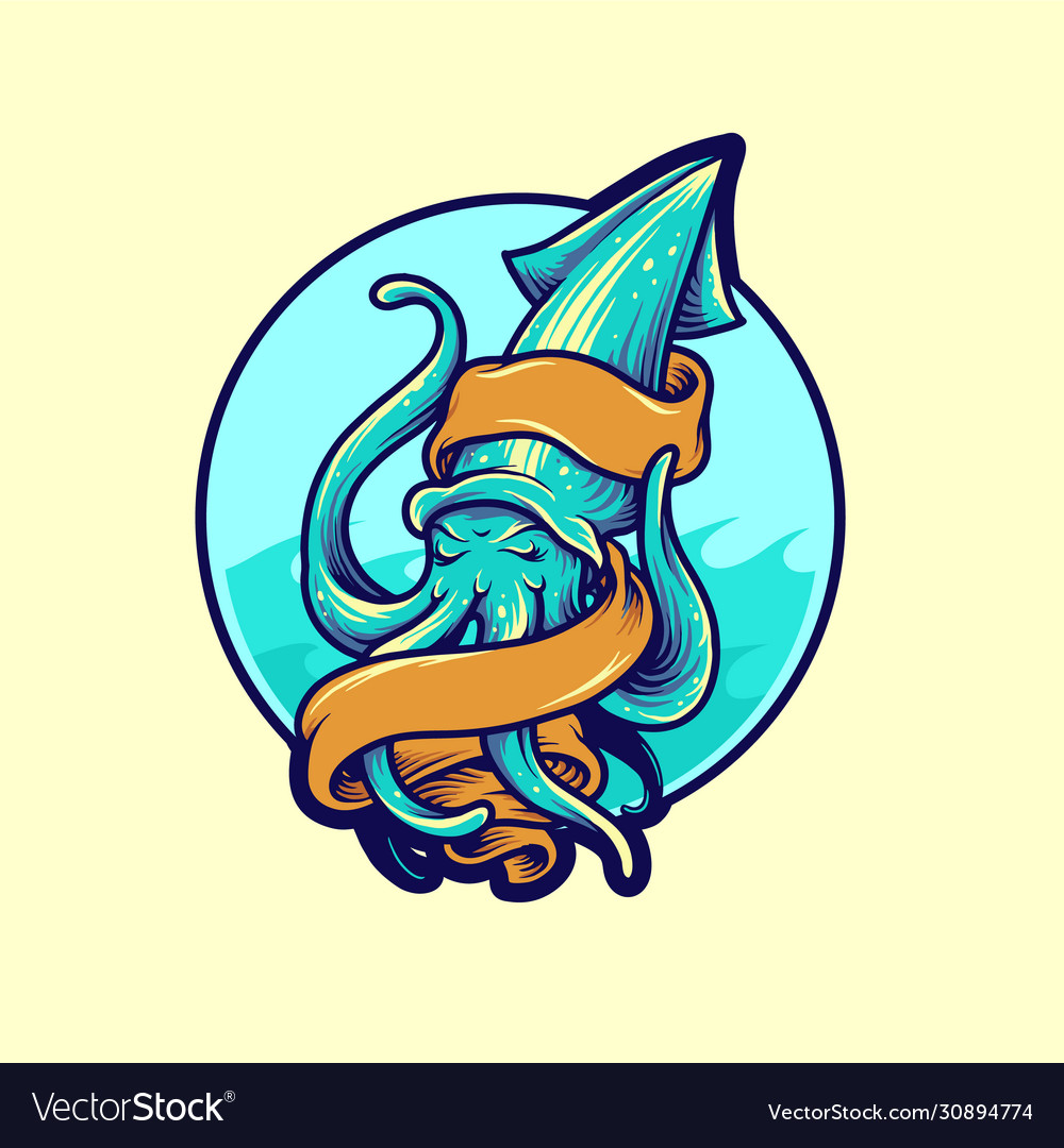 Squid hand drawn mascot