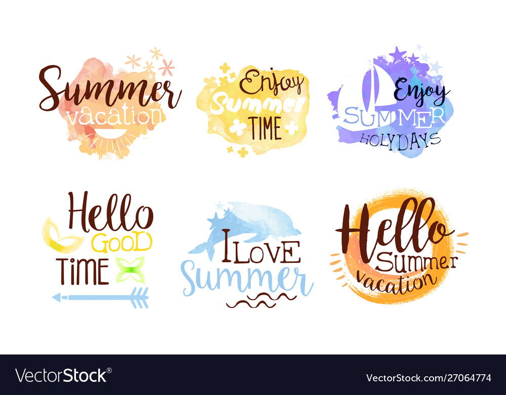 Summer vacation labels set hello good time badges