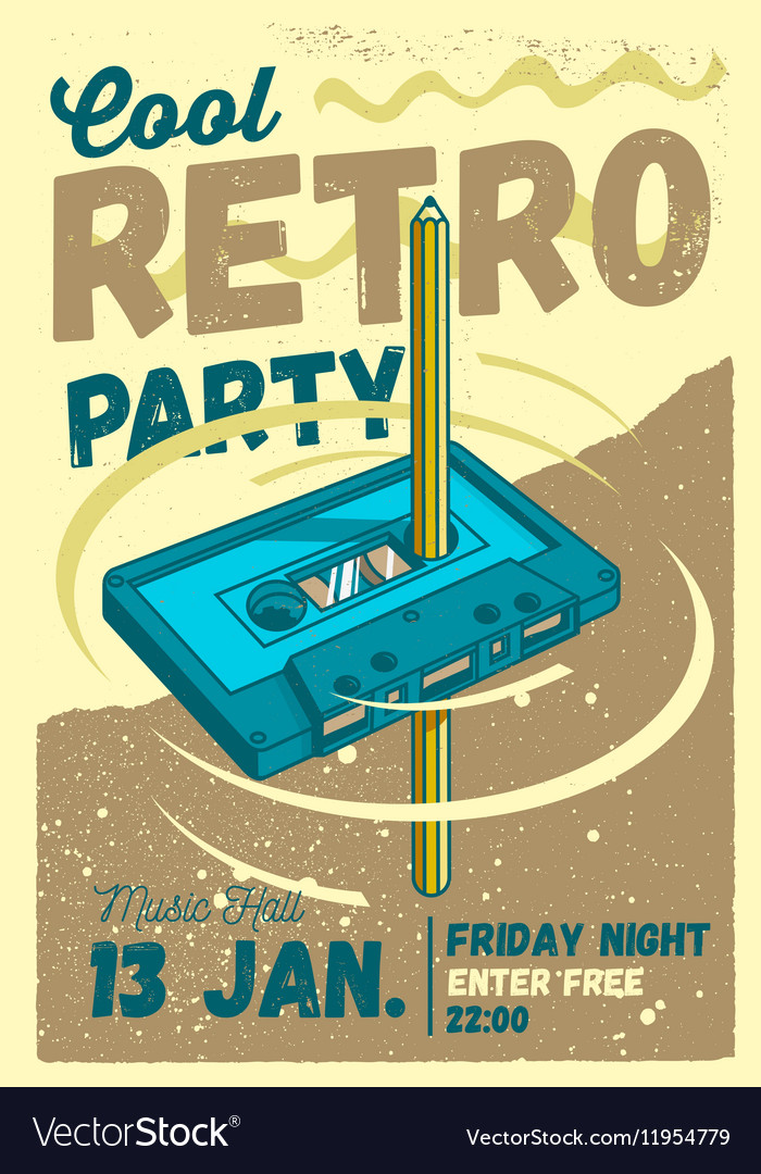 cool comic retro party poster template pencil vector image