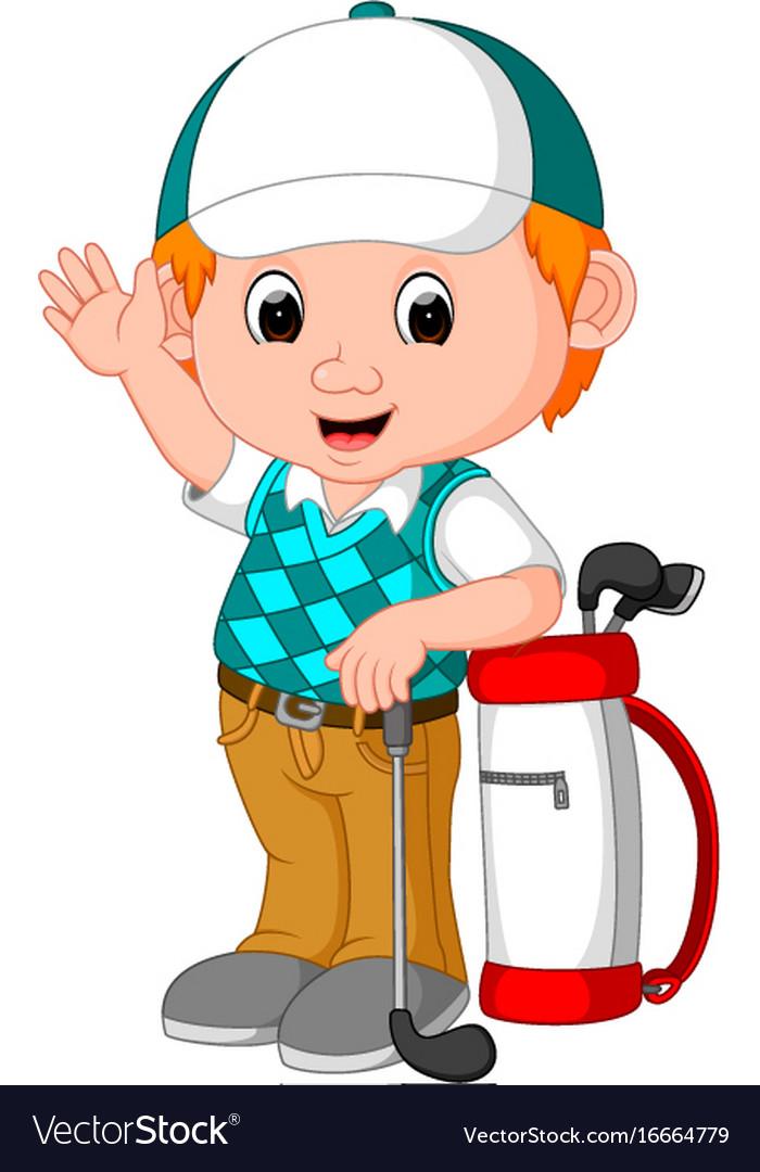 Cute Golfer Cartoon Royalty Free Vector Image Vectorstock