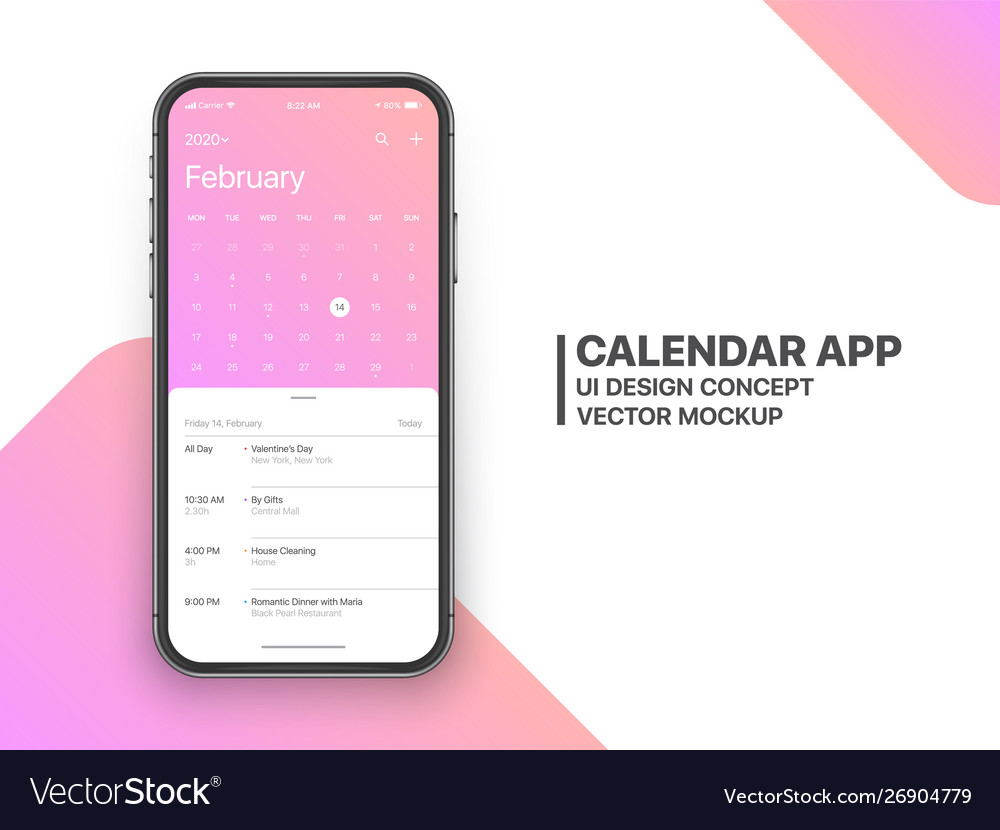 Design calendar app ui ux concept