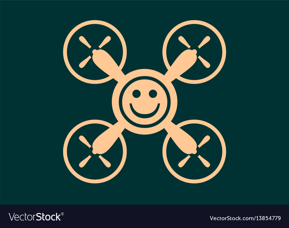 Drone quadrocopter icon smiley symbol vector image