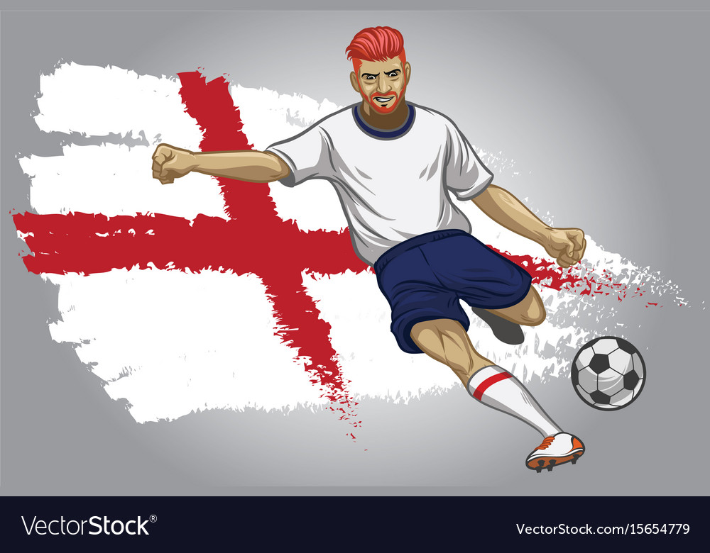 England soccer player with flag as a background vector image