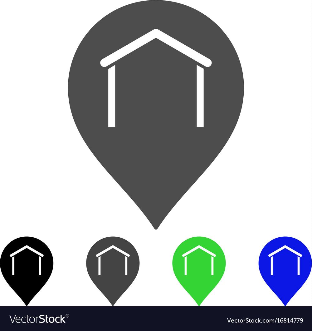 Hangar map marker flat icon