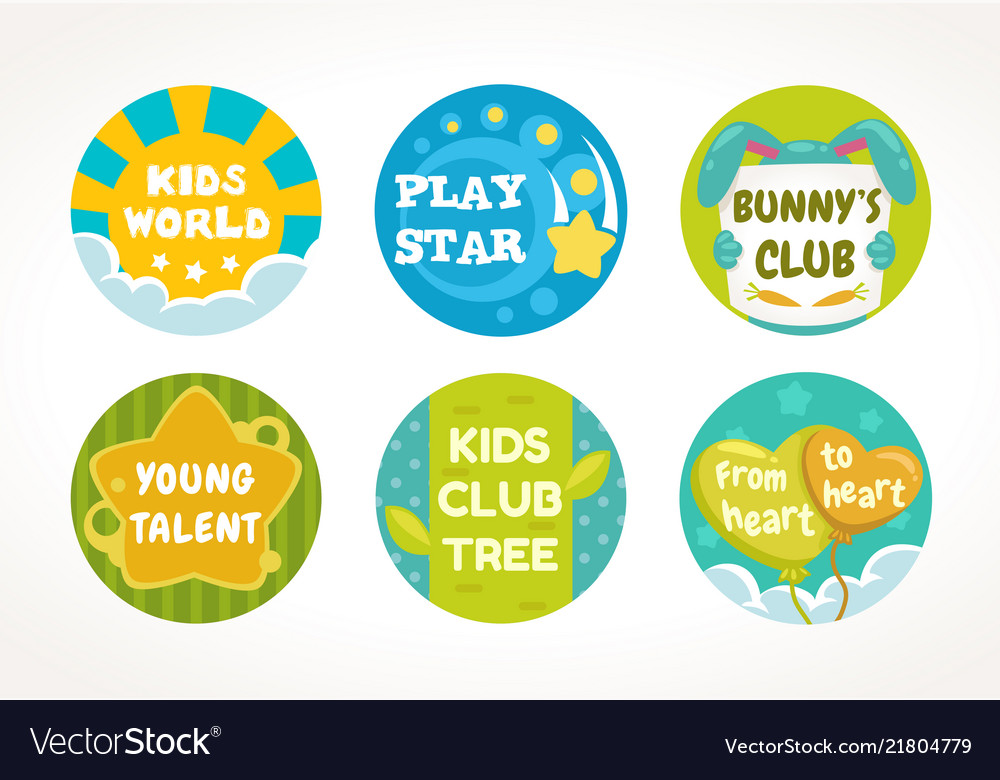 Kids buttons and labels design round cute pins