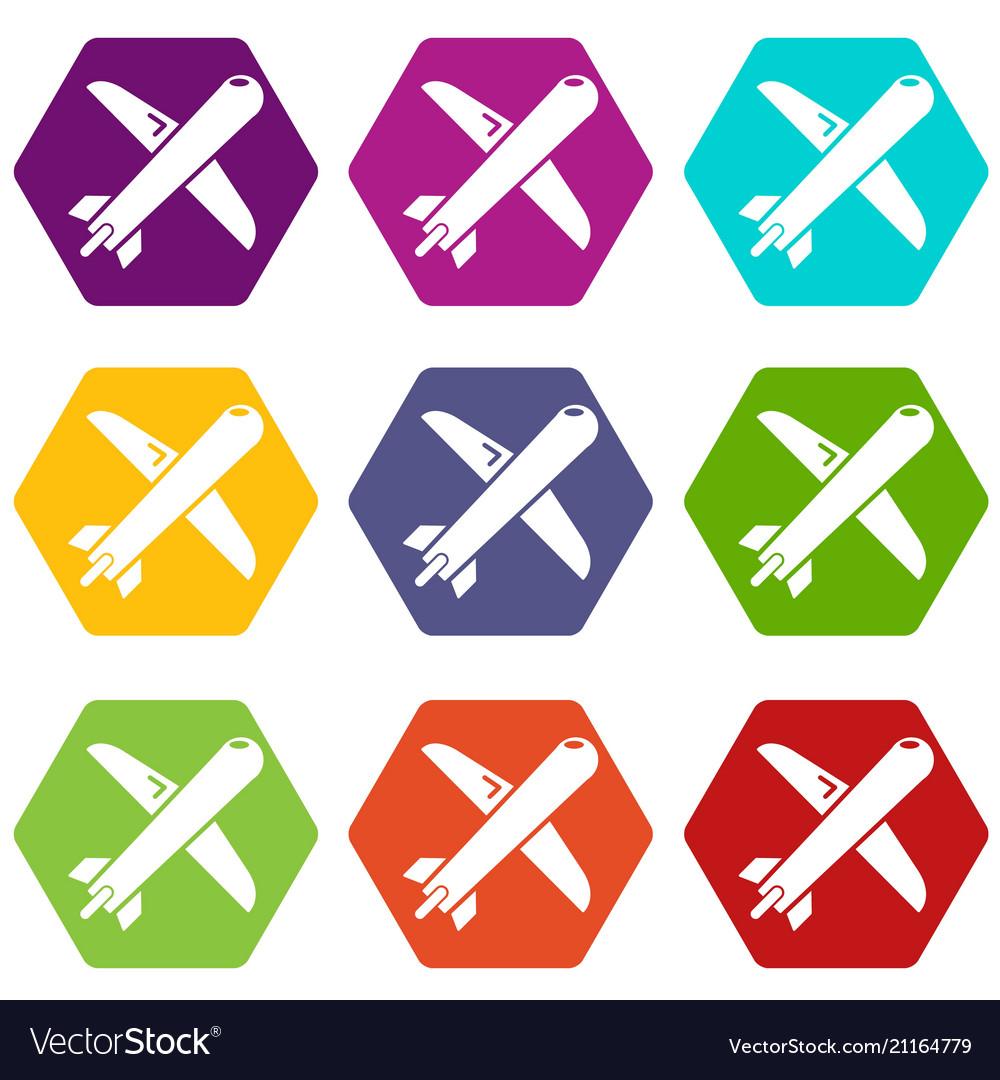 Plane icons set 9
