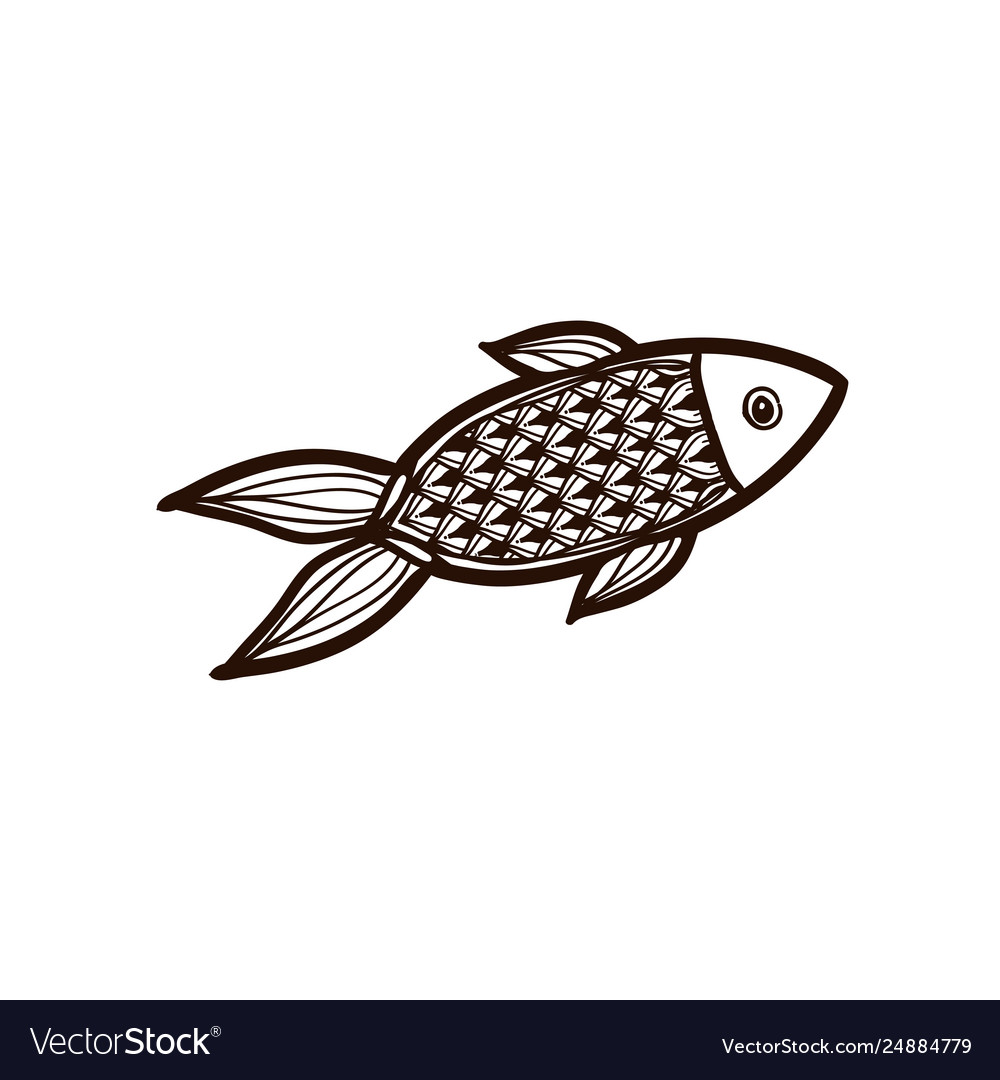 Red fish isolated coloring book