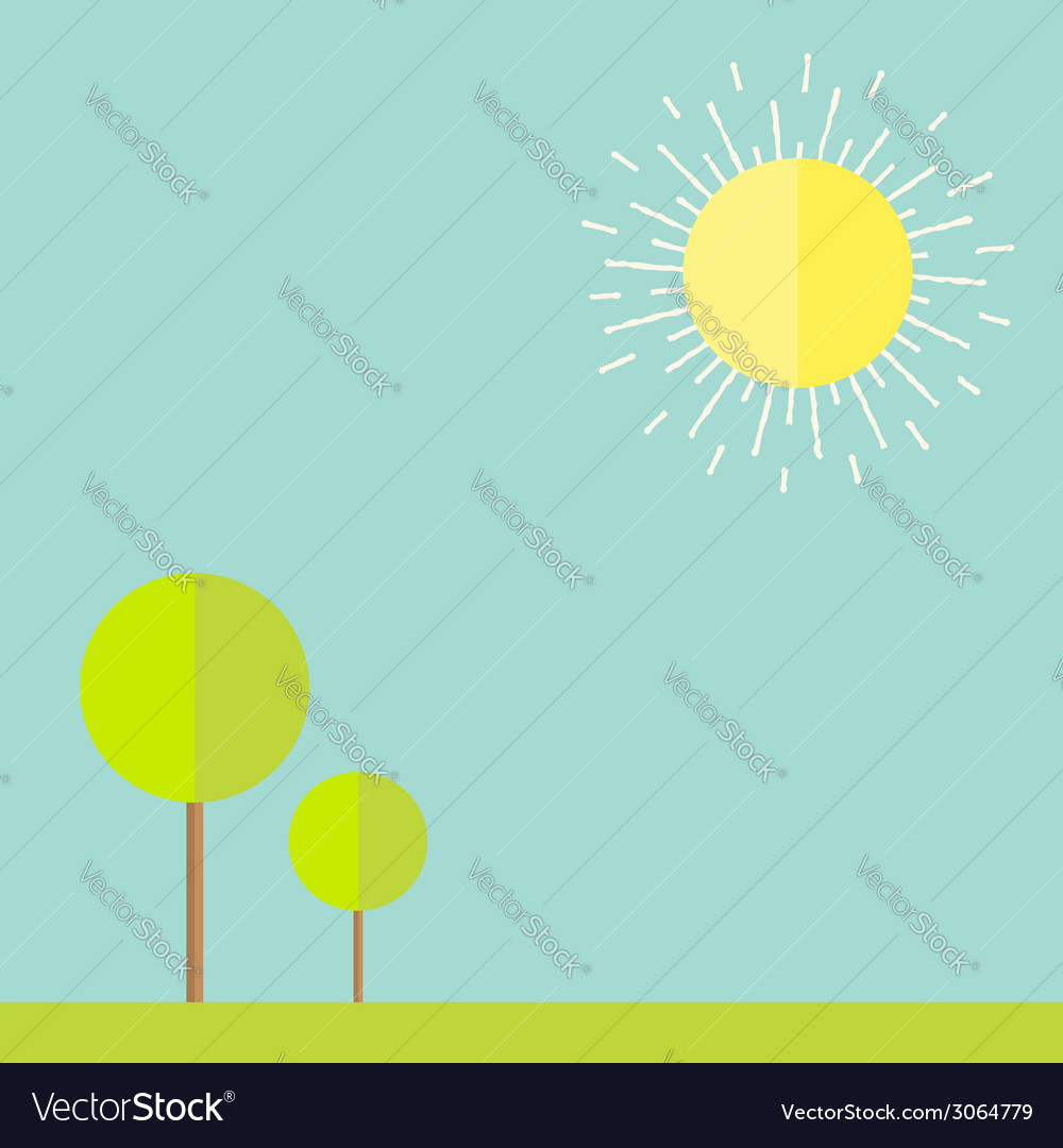 Sun sky tree grass bird Summer landscape in flat