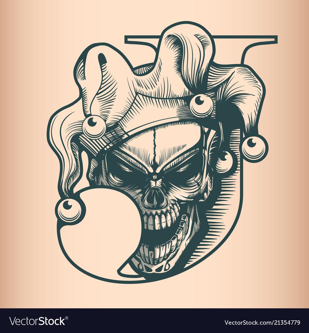 Vintage joker skull monochrome hand drawn tatoo
