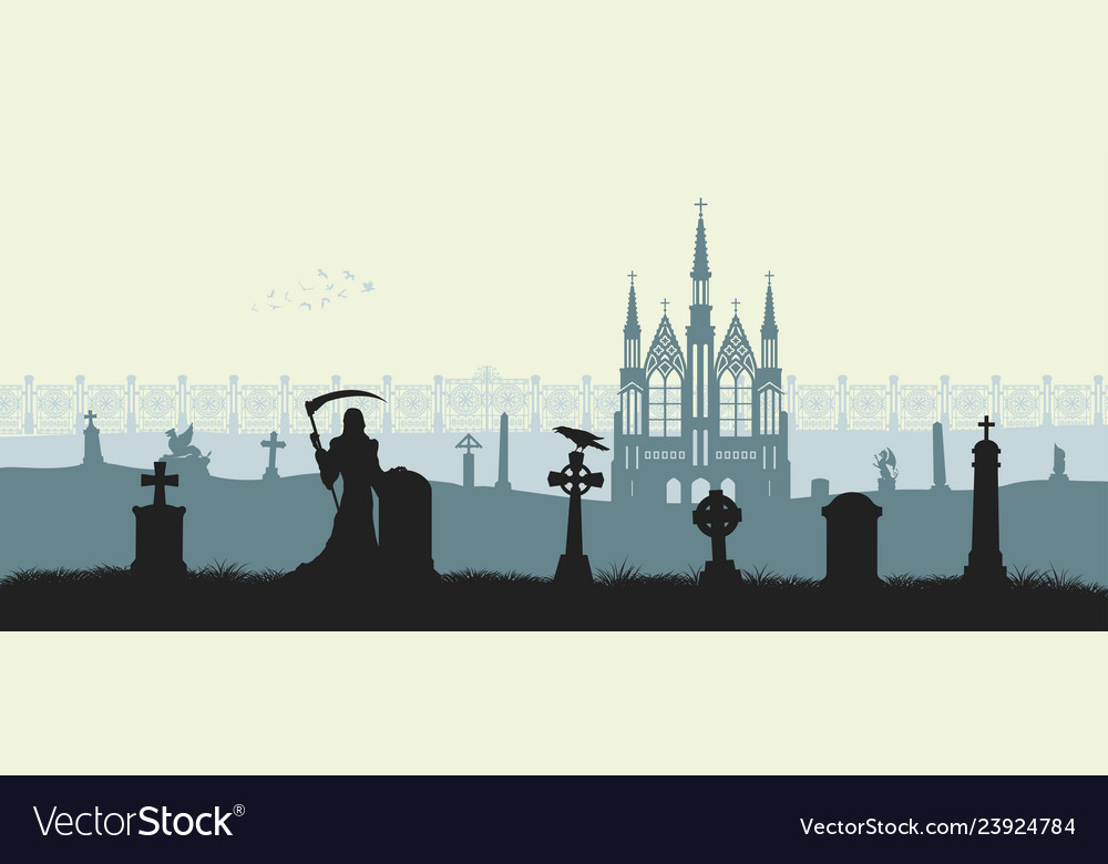 Black silhouette of gothic cemetery