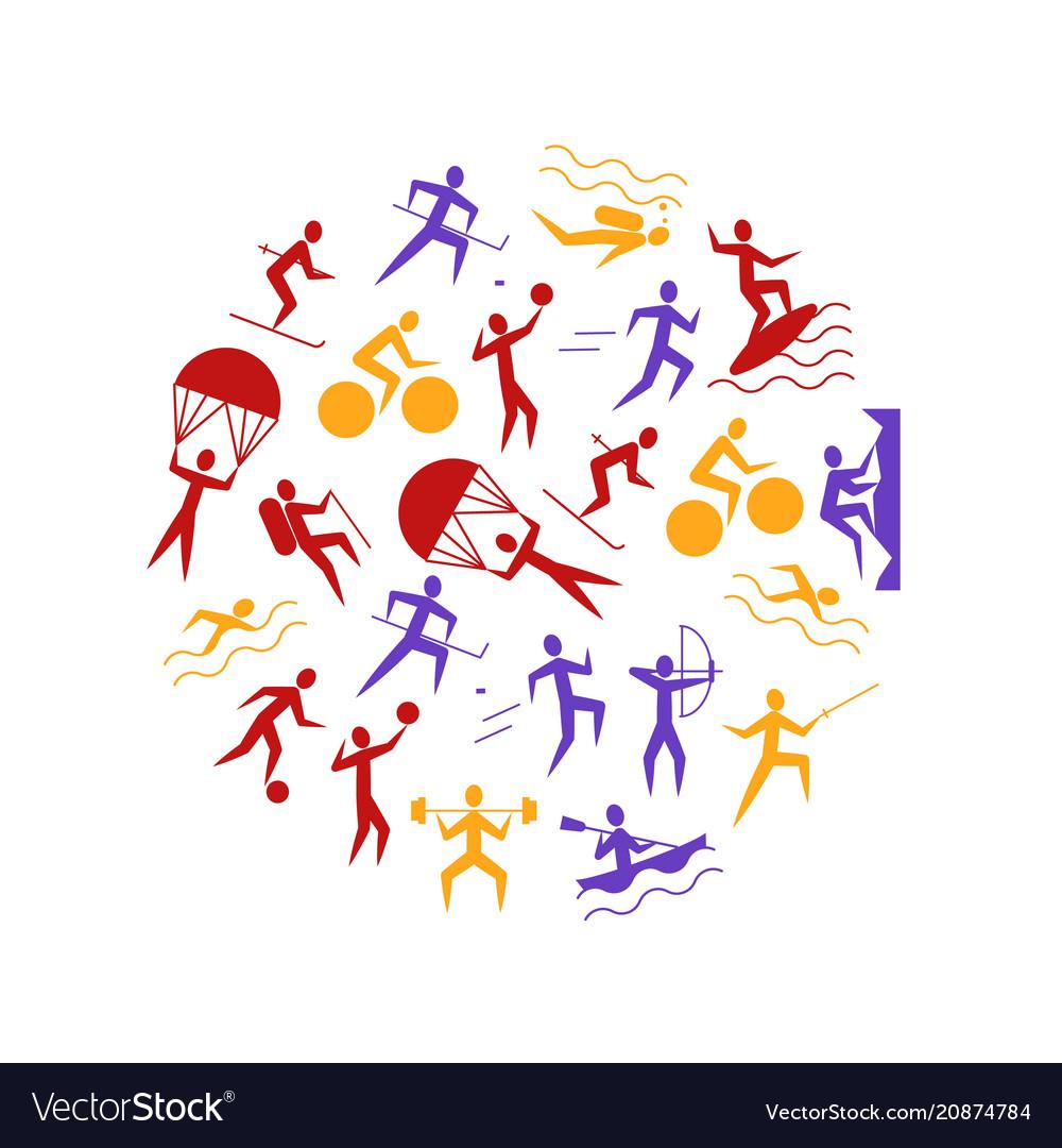 Cartoon outdoor activities sports games round