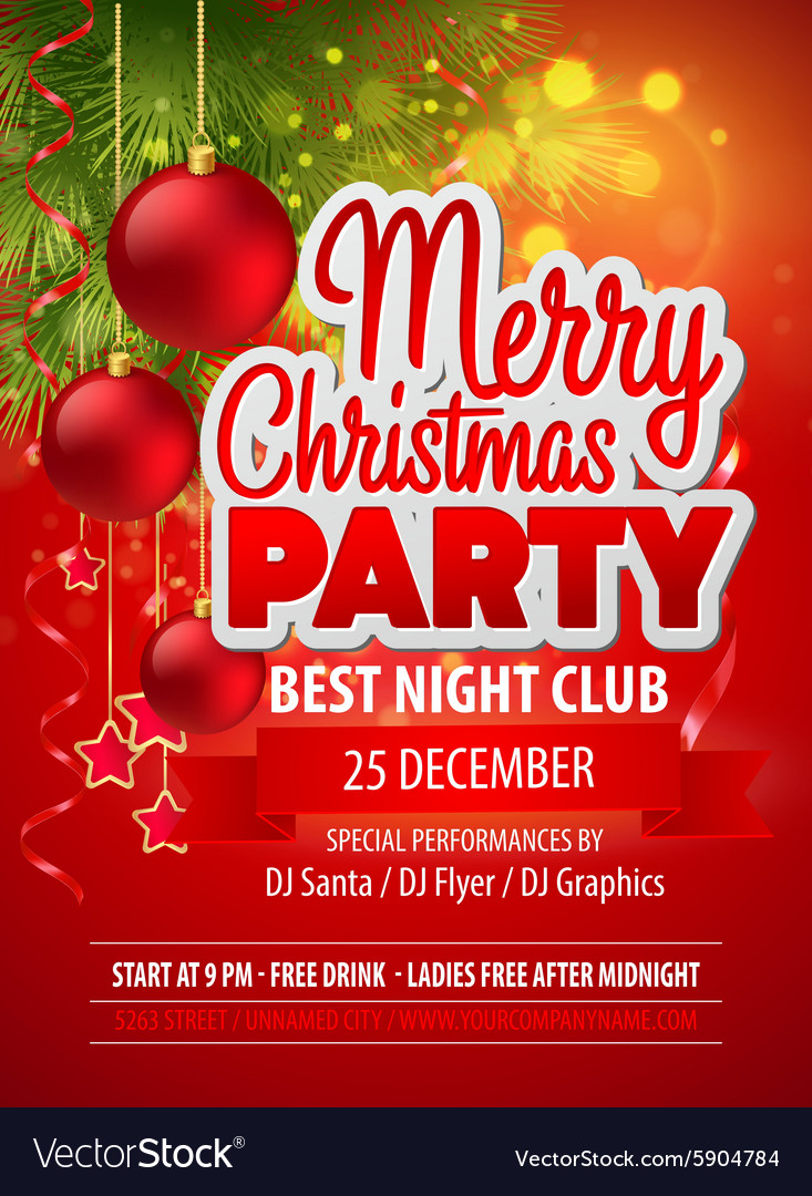 Christmas Party Flyer Template Royalty Free Vector Image